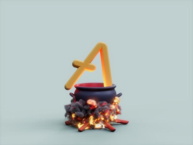 Aave cauldron fire cook crypto currency renderização de ilustração 3d