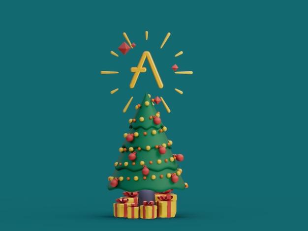 Aave christmas tree decorativo festivo crypto moeda ilustração 3d render