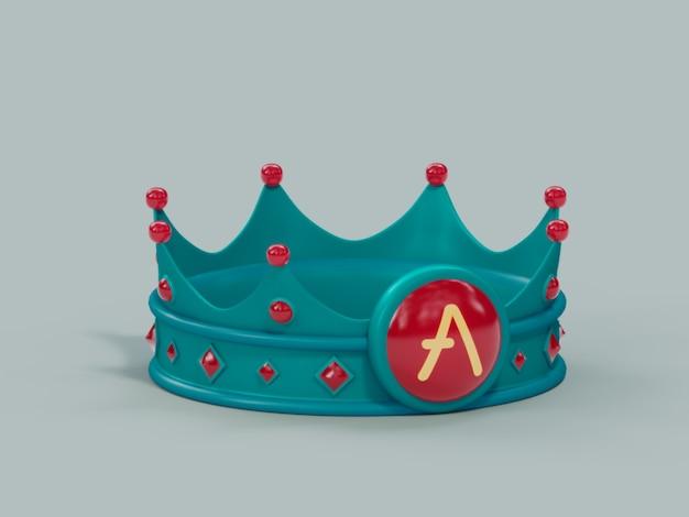 Aave crown king vencedor campeão crypto moeda ilustração 3d render