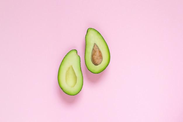 Abacate, vista de cima, copie o espaço, conceito de comida saudável