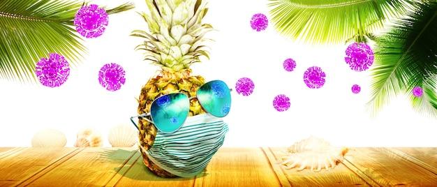 Abacaxi com óculos escuros e máscara de vírus corona nas férias
