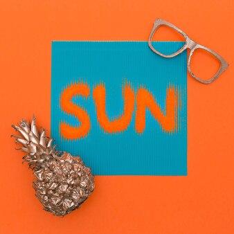 Abacaxi e sol. estilo minimalista da moda artística