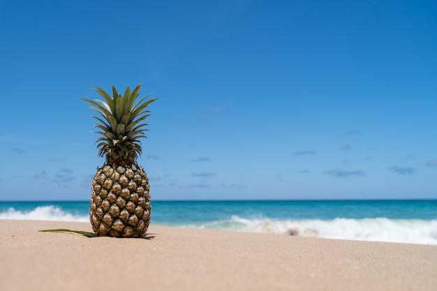 Abacaxi na areia com respingos de água do mar no conceito de verão de céu azul.