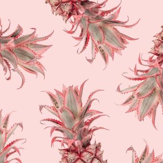 Abacaxi rosa decorativo, planta da bromélia ananas bracteatus em rosa. flores exóticas da moda divertidas. desenho floral.