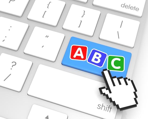 Abc tecla enter com cursor de mão. renderização 3d