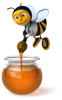 Abelha de médico ilustrado divertido com óculos fazendo mel