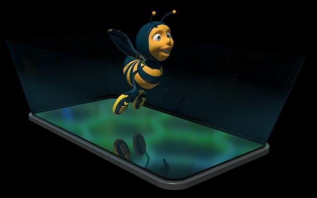 Abelha em um telefone - ilustração 3d