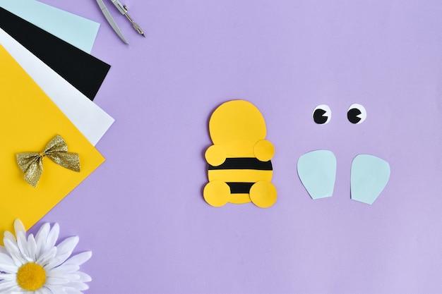 Abelha faça você mesmo em papel colorido com as crianças em casa