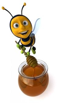 Abelha ilustrada divertida com luvas de borracha e botas fazendo mel