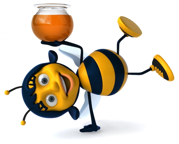 Abelha ilustrada divertida dançando enquanto segura um pote de mel