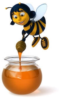 Abelha ilustrada divertida fazendo mel