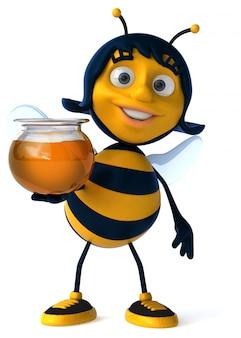Abelha ilustrada divertida segurando um pote de mel