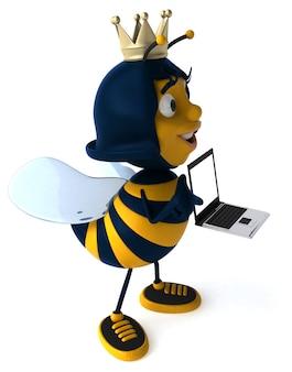 Abelha ilustrada divertida usando uma coroa e segurando um laptop