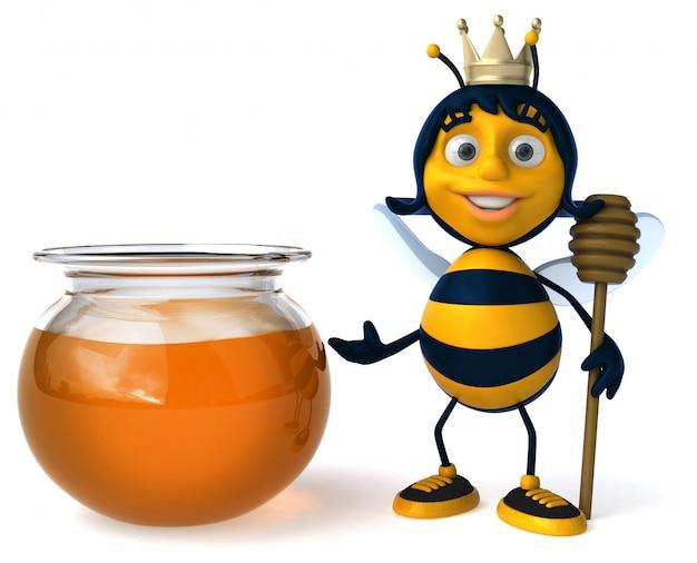 Abelha ilustrada divertida usando uma coroa perto de um pote de mel