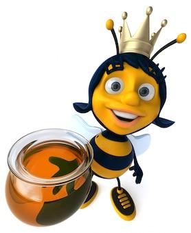 Abelha ilustrada divertida usando uma coroa segurando um pote de mel