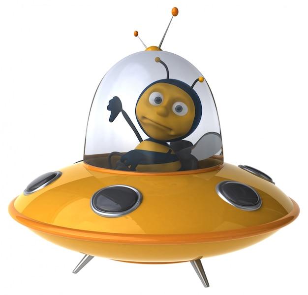 Abelha ilustrada engraçada em uma nave espacial mostrando os polegares para baixo