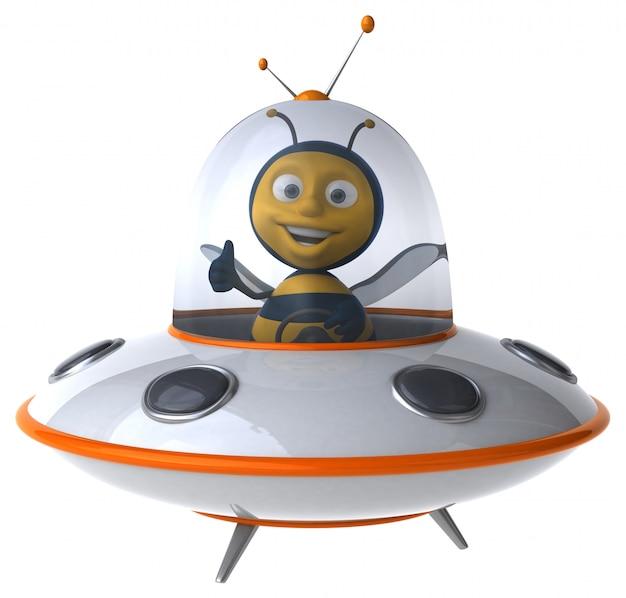 Abelha ilustrada engraçada em uma nave espacial mostrando os polegares