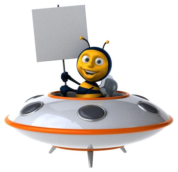 Abelha ilustrada engraçada em uma nave espacial segurando um cartaz