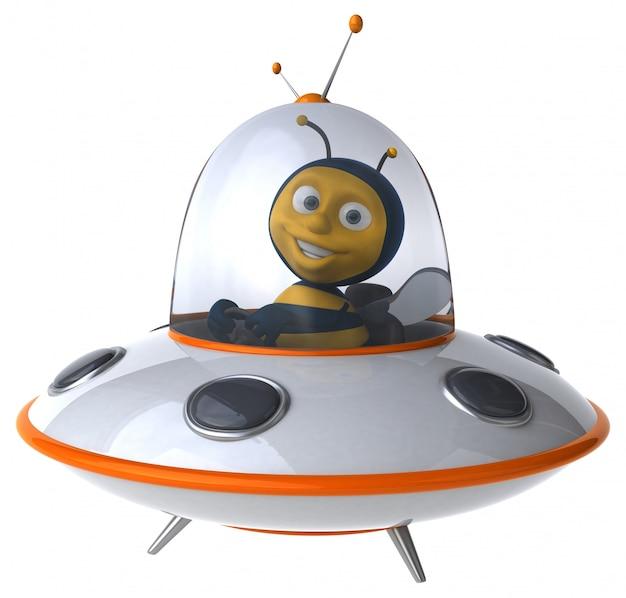 Abelha ilustrada engraçada em uma nave espacial