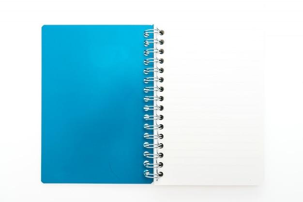 Aberto caderno azul