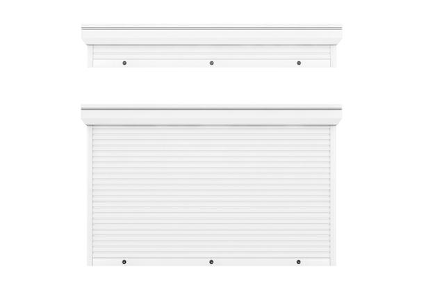 Aberto e fechado protege a garagem branca e sistema de persianas de loja em um fundo branco. renderização 3d