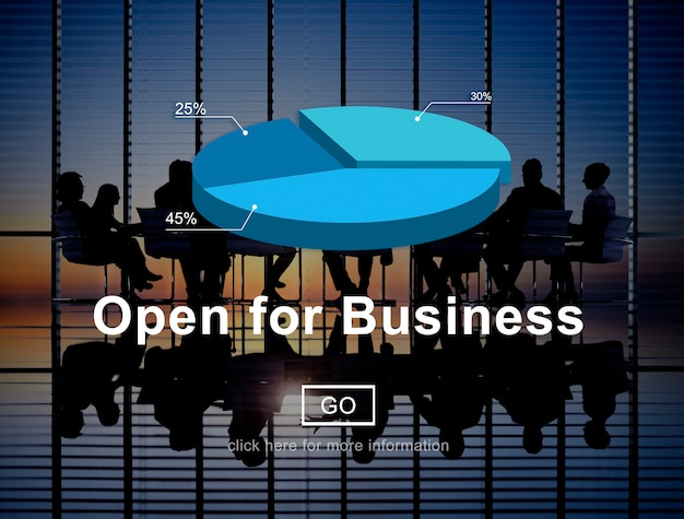 Aberto para o conceito de indústria de parceria de negócios