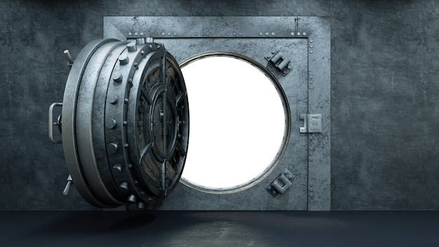 Abertura da porta do cofre no banco