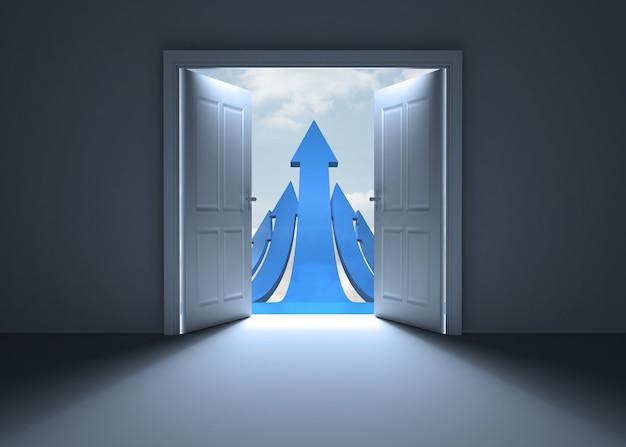 Abertura da porta para mostrar as setas