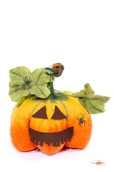 Abóbora artesanal de celebração de lã feltrada de halloween