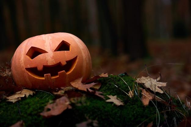 Abóbora artesanal engraçada e assustadora decorada para o halloween