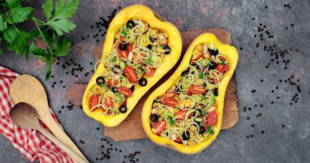 Abóbora assada com legumes