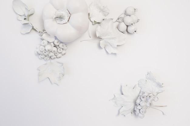 Abóbora branca, bagas e folhas em um assoalho de madeira branco