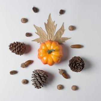 Abóbora com cones e decorações de folhas