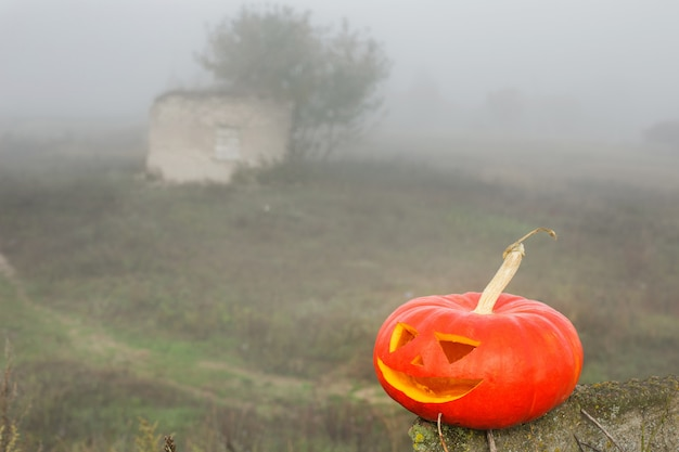 Abóbora de halloween ao ar livre