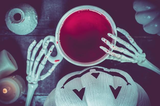 Abóbora de halloween, doce ou travessura na temporada de outono