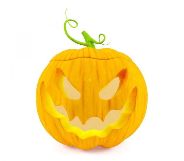 Abóbora de halloween, jack o'lantern, isolado no fundo branco, renderização em 3d