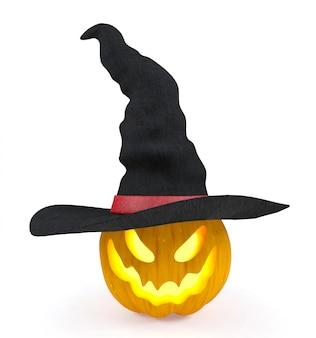 Abóbora de halloween, jack o'lantern, usando chapéu de bruxa isolado no fundo branco