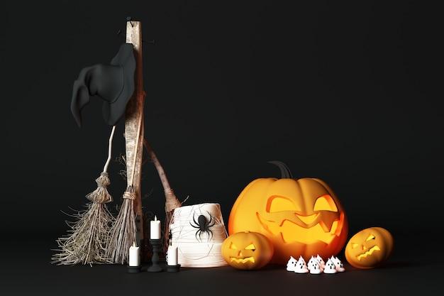 Abóbora de halloween jack o lanterna com chapéu de bruxa e flor e piso preto aranha e renderização em 3d escura