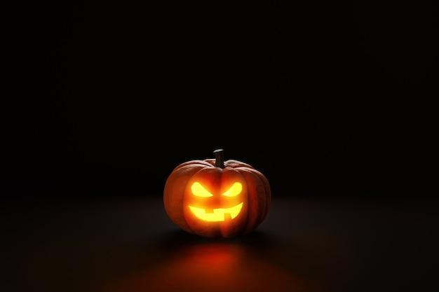 Abóbora de halloween jack o lanterna no espaço da cópia de renderização 3d escuro.
