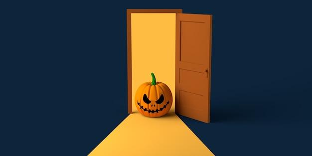 Abóbora de halloween saindo de uma porta que se abre. copie o espaço. ilustração 3d.