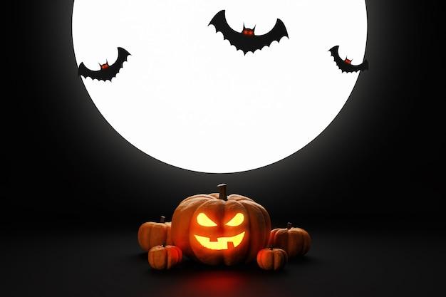 Abóbora de halloween voando jack o lanternas e morcegos no espaço da cópia de renderização 3d escuro.