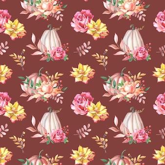 Abóbora de outono em aquarela e rosa, folhas em fundo branco. padrão sem emenda com aquarela
