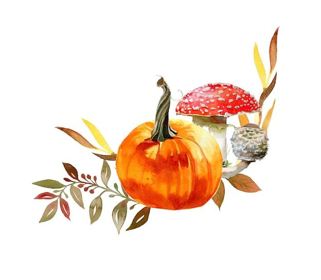 Abóbora de outono pintada à mão em aquarela, cogumelos e folhas