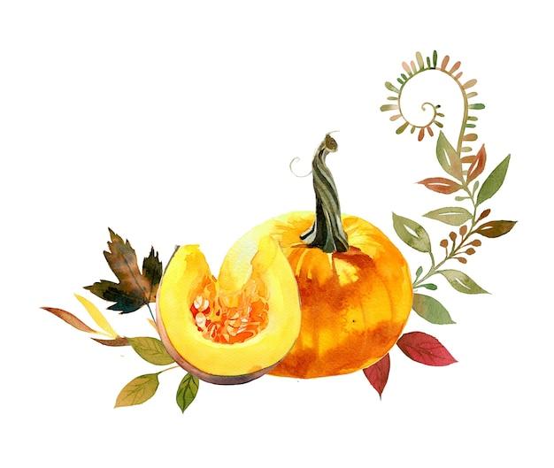 Abóbora de outono pintada à mão em aquarela e design de folhas