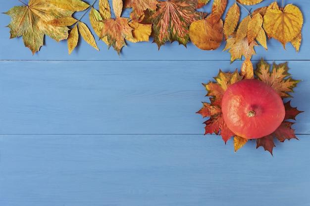 Abóbora e folhas de outono coloridas na mesa de madeira azul