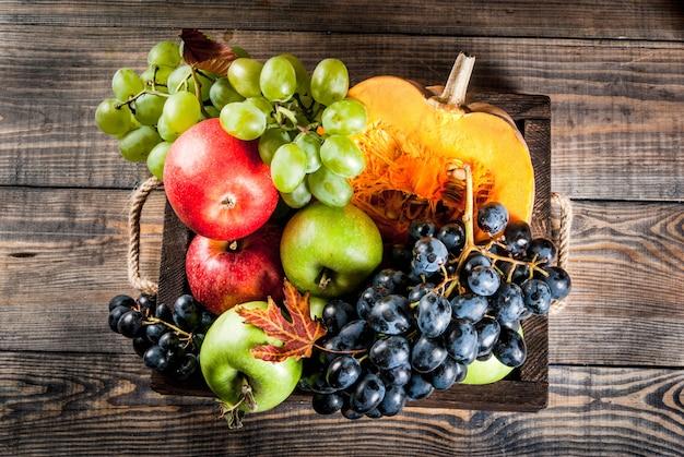 Abóbora e frutas da estação