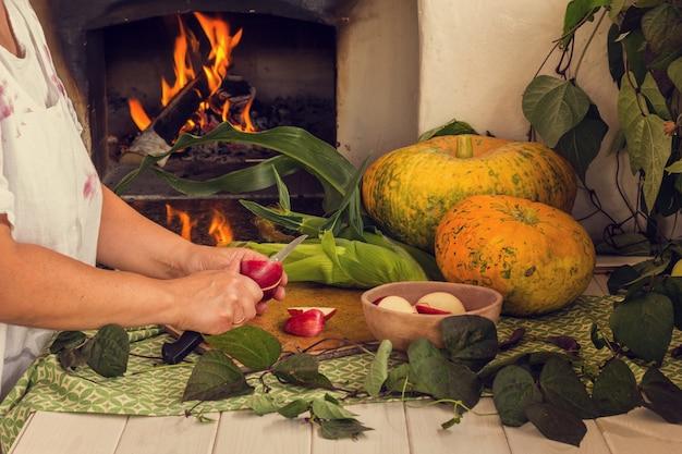 Abóbora e milho em um fundo de fogão