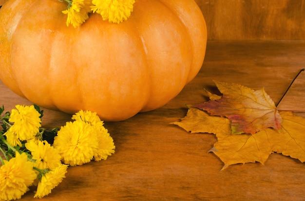 Abóbora, folhas e flores de outono