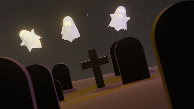 Abóbora jack o lanterns ghost e uma bruxa no cemitério no halloween para o fundo