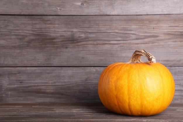 Abóbora laranja em fundo cinza. outono
